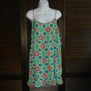 One Clothing Green & Pink Circle Mini Dress, L NWT